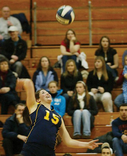 Louise Hamill goes for a kill against York Saturday night.