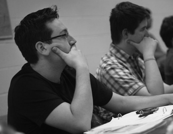 EngSoc President Charlie Scott listens to a presentation at an EngSoc Council focus meeting Tuesday night.