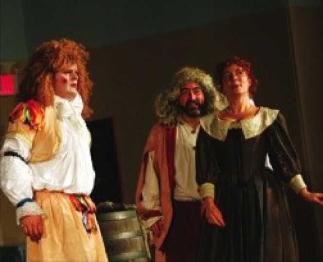 Sir Andrew Aguecheek, at left, played by Clayton Garrett, stole the show.