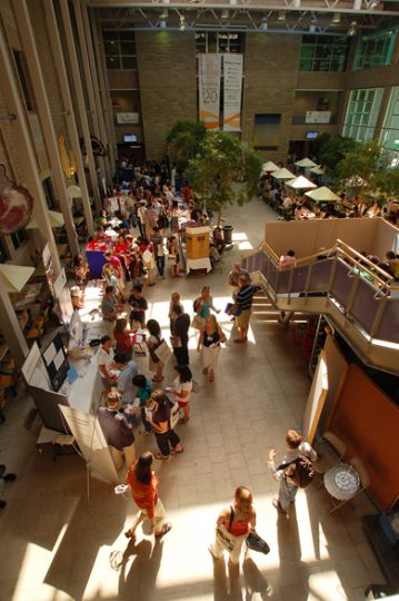 Graduate students explore the information booths at the first-ever graduate student orientation on Sept. 2.