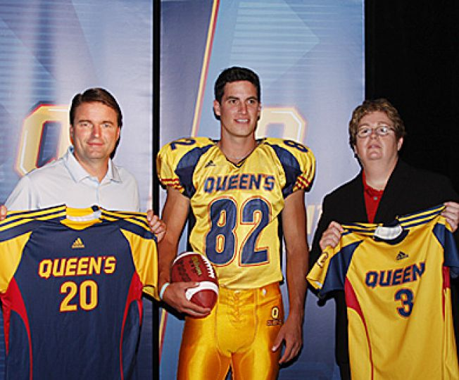 Adidas Canada Director of Team Business Development Jeff Clements, football's Scott Valberg and Director of Athletics and Recreation Leslie Dal Cin