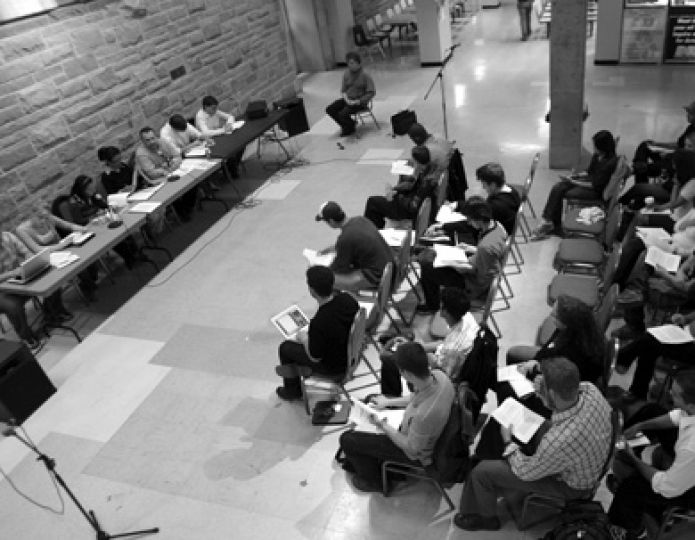 Students attend a townhall discussion on the draft Code of Conduct last October.