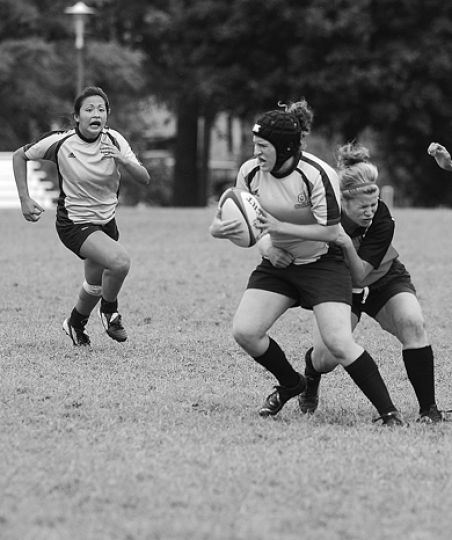 The Queen's women's rugby team in action against the Carleton Ravens Sunday in an exhibition match. Queen's won that game, but lost 18-15 to the Trent Excalibur Wednesday.