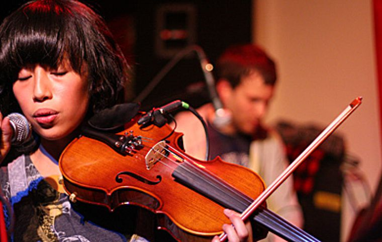 """Ohbijou's Jennifer Mecija performs at the Grad Club Saturday night with The Acorn and The Wooden Sky. See """"Weekend in review"""" in the A&E Section."""