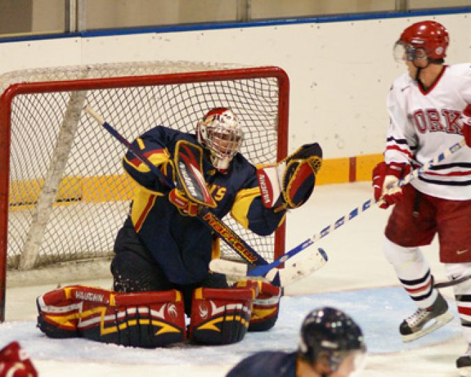 Queen's goalie Brady Morrison snags a shot Friday against York.