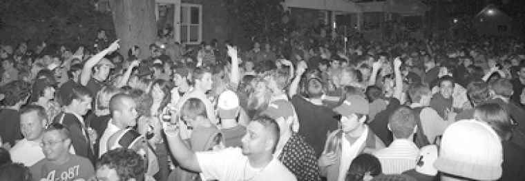 Partiers filled Aberdeen Street on Saturday night of the 2008 Homecoming weekend. Police made 105 arrests.