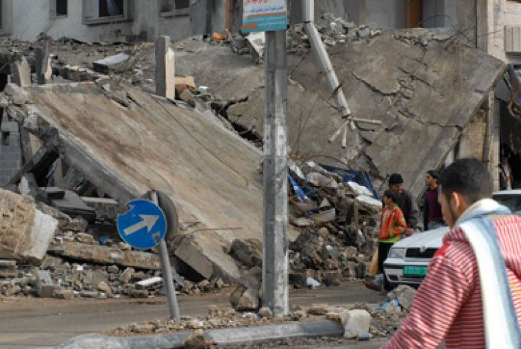 Destroyed buildings, like the one pictured above, are a common sight in Gaza.