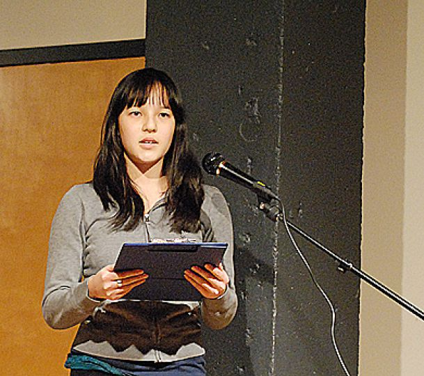 Josephine Minhinnett performed as part of C.A.R.E.D.'s artistic and activist event.