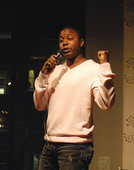Dwayne Morgan came from Toronto to deliver his eloquent and socially conscious spoken word pieces for the Anti-Racist Thoughts Showcase at the Common Ground Sunday evening.