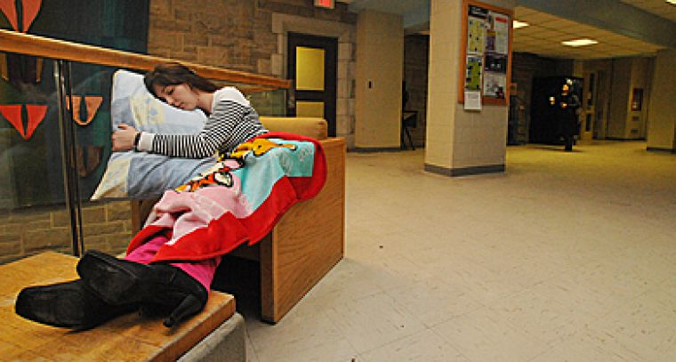 Fourth-year student Katie Underwood settles in for a night in the JDUC.