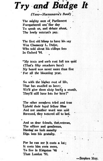 Veteran's pay allowed thousands of WWII veterans to attend post-secondary education upon their return to Canada. This satirical poem first appeared in the Journal on June 7, 1946.