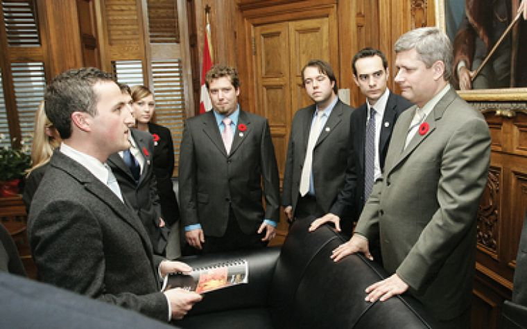 Representatives of the Canadian Alliance of Student Associations meet with Prime Minsiter Stephen Harper on Parliament Hill in Ottawa during their 2007 lobby conference.