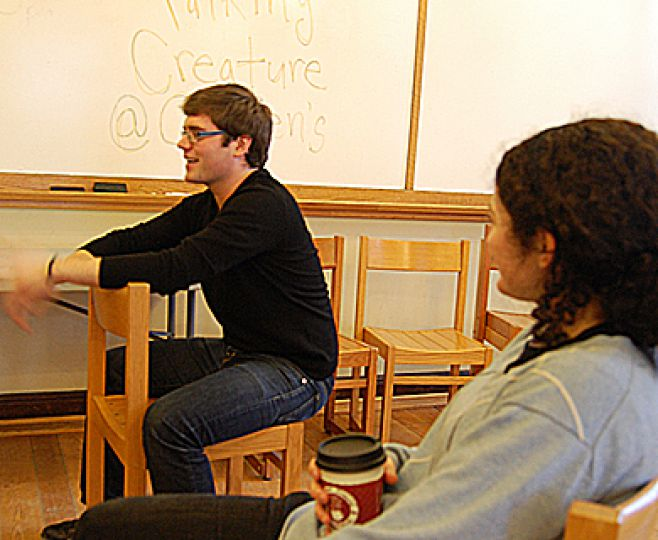 Adam Wray (above) brought The Talking Creature to Queen's on Tuesday in the John Orr Room of the JDUC.