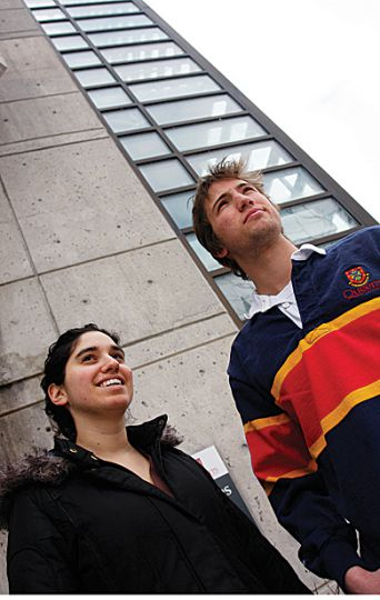 Rector Leora Jackson and Undergraduate Student Trustee Michael Ceci stand in front of the Policy Studies building. On Feb. 23, the Board of Directors voted to change the name of the building to Robert Sutherland Hall.