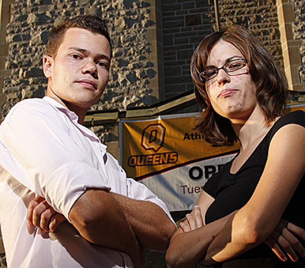 No Sweat project directors Jonathan Adamo and Stephanie Simoes, both ArtSci '09, want the University to refuse to renew its contract with adidas.