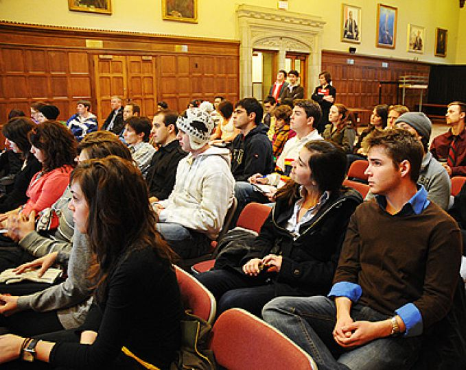 Students take in the Queen's Centre town hall last February.