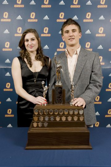 Alfie Pierce Trophy winners Brienna Shaw and Scott Kyle pose with their awards. Both were selected as the OUA East rookie of the year in their respective sports—women's soccer and men's rugby.
