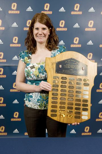 Women's hockey trainer Robin Goody was recognized with the Hal Dunlop Shield Tuesday night. The award is given annually to Queen's most outstanding student trainer.
