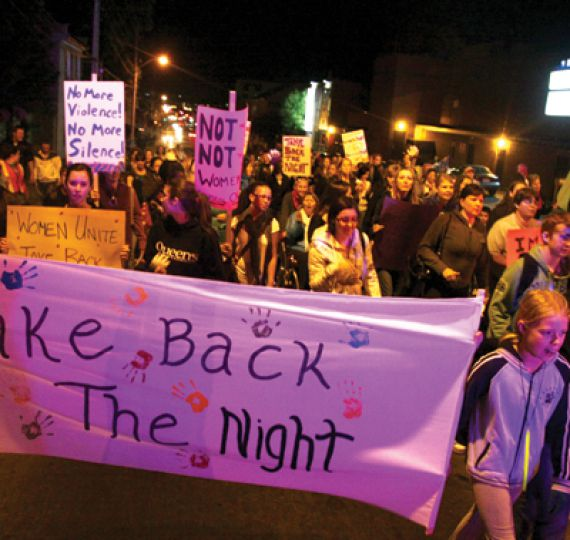 More than 80 women took to Kingston's streets last night for the 31st annual Take Back the Night event commemorating the fight to end violence against women and children.