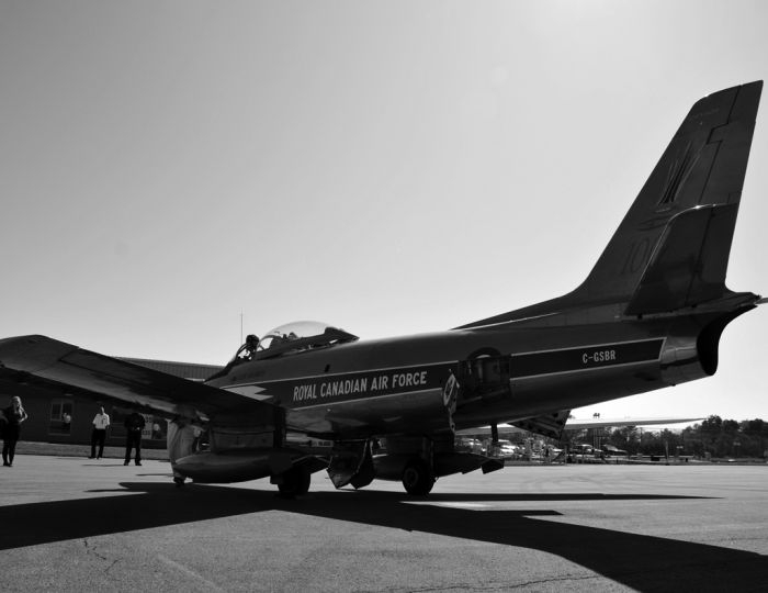 The 1954 Golden Hawk on display at Kingston's Norman Rogers Airport