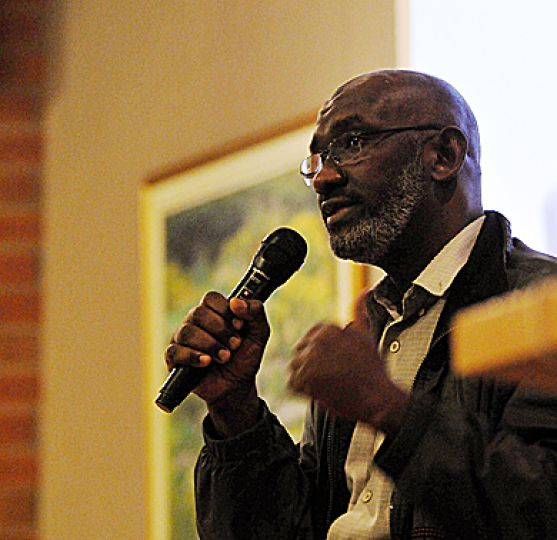 Sudanese-born Canadian citizen Abousfian Abdelrazik speaks at the public library on Monday. Earlier, he spoke to a law class in Macdonald Hall about the United Nations' no-fly list.