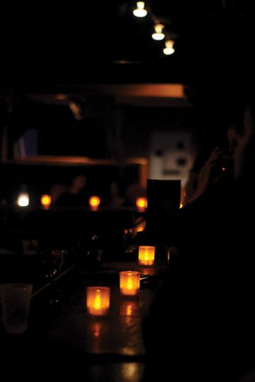 Ambient tea lights set the mood for a night of smooth jazz.