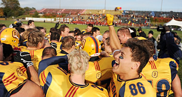 The Gaels celebrate after beating the Mustangs on Saturday. Bottom