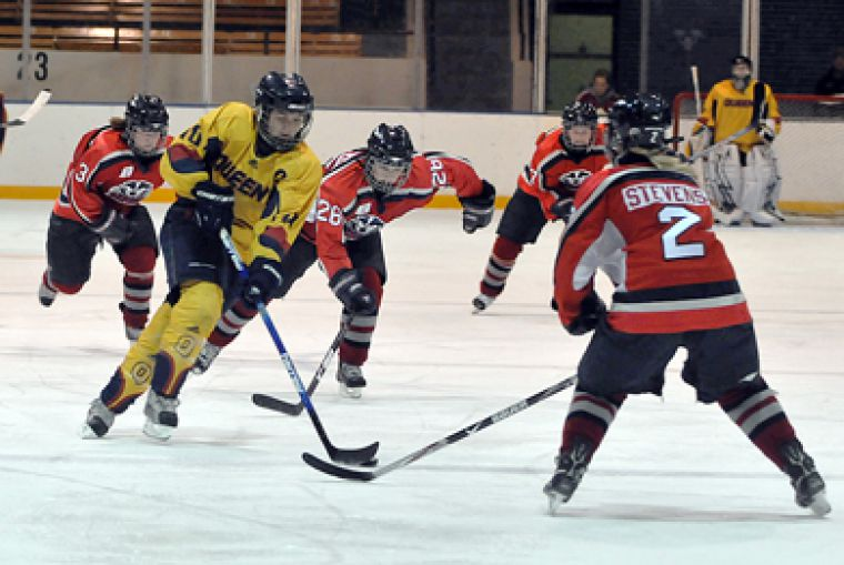 Captain Alison Bagg flies into the Brock zone during Saturday's game.