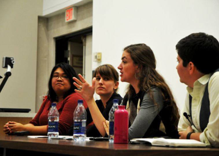 Feministing editors speak in Humphrey Hall on Tuesday to kick off their North American tour.