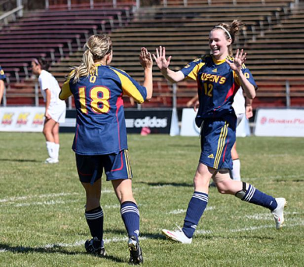 Jennifer Hutchinson (left), Riley Fillion and the women's soccer team are ranked third nationally heading into their final match.
