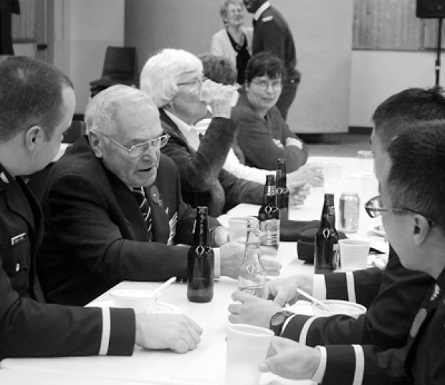 Veterans and their families gather at the Legion for food and drink after the Remembrance Day service on Wednesday.