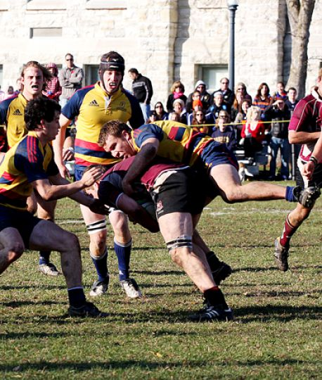 Flanker Alistair Clark drags a Marauder to the ground during Saturday's semifinal at Kingston Field.