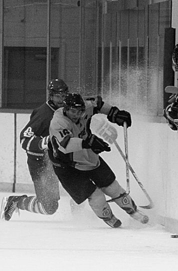 Forward Mike Bushby, who was credited with the Gaels' first goal, tries to avoid a hit during Wednesday's loss at the Constantine Arena.