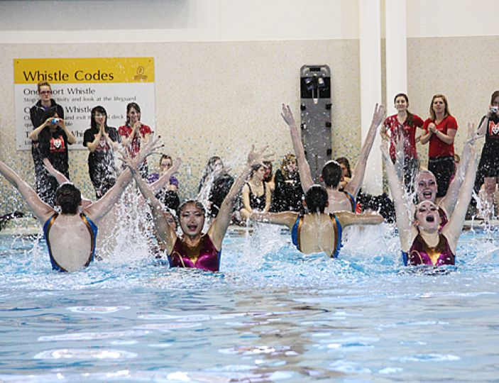 McMaster University's synchronized swimming team was one of 12 university teams to compete in the Queen's hosted competion on Sunday. Queen's earned first place followed by the University of Western Ontario in second.