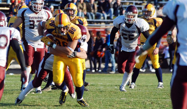 Inside receiver Chris Ioannides elludes McMaster defenders in the OUA semifinals at Richardson Stadium on Nov. 7.
