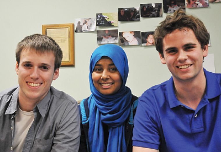 AMS vice-president (university affairs) candidate Chris Rudnicki, presidential candidate Safiah Chowdhury and vice-president (operations) candidate Ben Hartley say solar panels are one of their initiatives for environmental and financial sustainability.