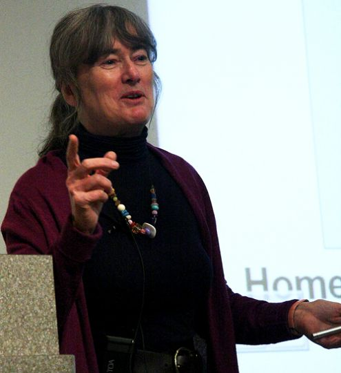Biology professor Virginia Walker, one of TVO's Best Lecturer Competition nominees, delivers a lecture at the BioSciences Complex on Thursday morning.