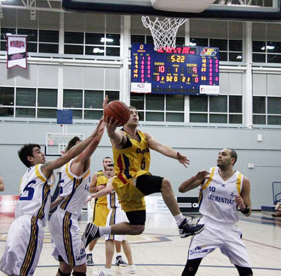 Gaels guard Baris Ondul sails toward the bucket during the Gaels' 87-81 win over the Laurentian Voyageurs on Friday.