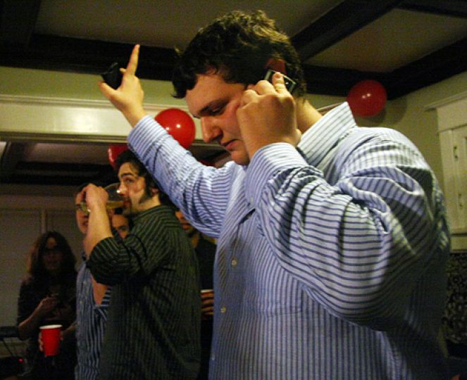 ASUS presidential candidate Kevin Wiener takes a call from the ASUS chief elections officer. Wiener and running mate Rory Johnston lost by 662 votes.