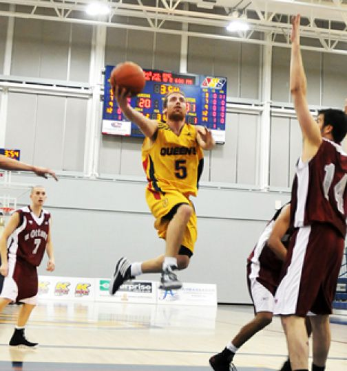 Gaels' point guard Baris Ondul begins a layup in the Gaels 72-59 loss to the University of Ottawa Gee-Gees last Friday.
