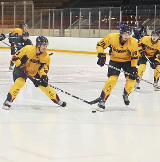 Defenceman Stephane Chabot (left) and forward Payton Liske were selected to the OUA All-Rookie team this season.