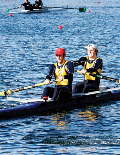 Men's rowing captain Andrew Joyce (right) finished fifth in the men's pair race at the OUA championships on Nov. 1.