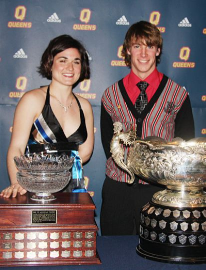 Rower Charly Thivierge-Lortie (left) and long-distance runner Matt Hulse won the PHE '55 Alumnae Award and the Jenkins Trophy, respectively, at last night's Colour Awards at the Ambassador Conference Resort.