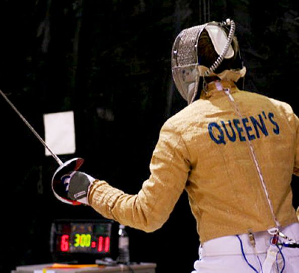 Scott Bowman started fencing in first year.