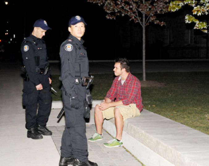 """Student who refused to move off bench on University Ave. """"What am I obstruction [sic]"""""""