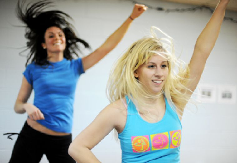 According to Shauna Fontaine (right), ArtSci '13 and a certified Zumba instructor at the ARC, it's possible to burn 500 to 1000 calories participating in an hour of Zumba.