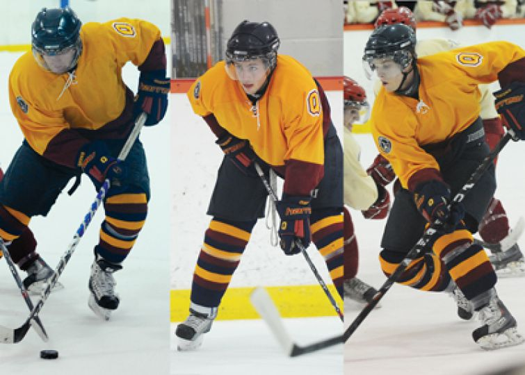 Jonthathon Lawrance (22), Scott Kenway (11) and Brock Ouellet (27), teammates of three years found chemistry instantly.
