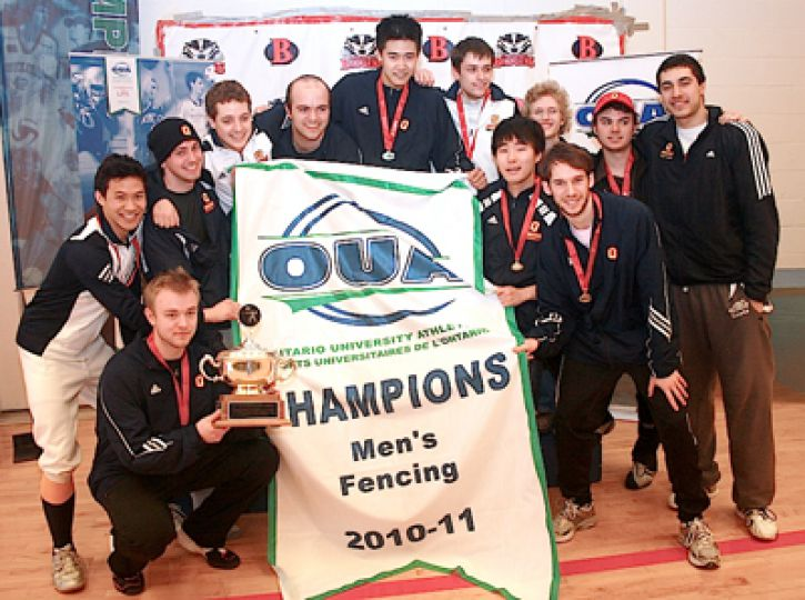 The men's fencing team was in St. Catharines for the OUA championship . They came in first with 240 points at the Brock-hosted event.