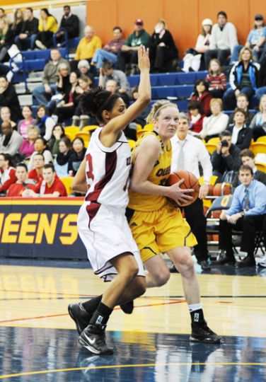 Guard Brittany Moore posted 18 points in the 62-51 loss to the Ryerson Rams.