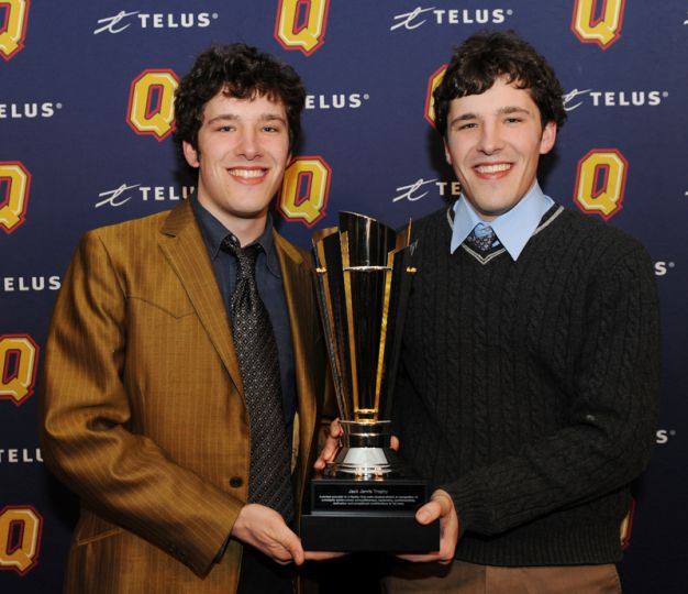 Liam and Pat Twomey of cycling were recognized as the top male varsity club athletes.